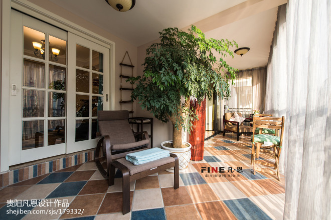 三居室美式阳台地砖效果图