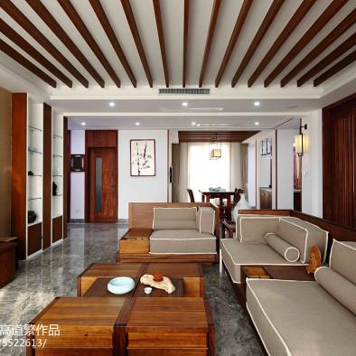 东南亚客厅格栅吊顶装修设计
