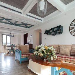 170㎡地中海风格客厅吊顶装修图片
