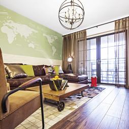 混搭风格客厅落地窗纱帘设计