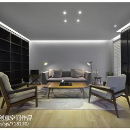 简约现代客厅组合书柜装修效果图