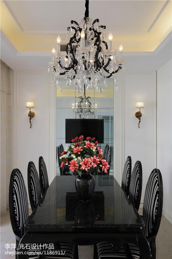 新古典别墅餐厅水晶吊灯效果图