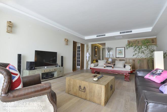 三居室混搭风格客厅家具摆放装修效果图