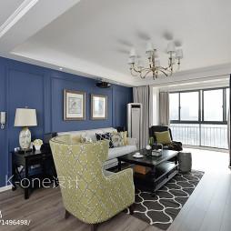 湛蓝的美式客厅吊顶装修效果图