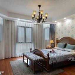 200㎡美式风卧室窗帘装修效果图