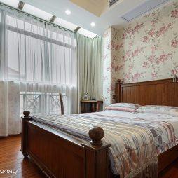 200㎡美式风卧室壁纸装修效果图