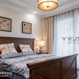 别墅美式卧室窗帘装修效果图