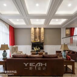 别墅美式客厅吊顶装修效果图