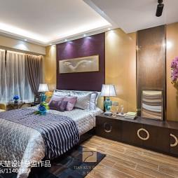 现代风格卧室背景墙样板房设计