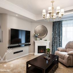 现代美式客厅电视墙装修效果图