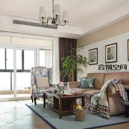 美式三居室客厅颜色搭配效果图