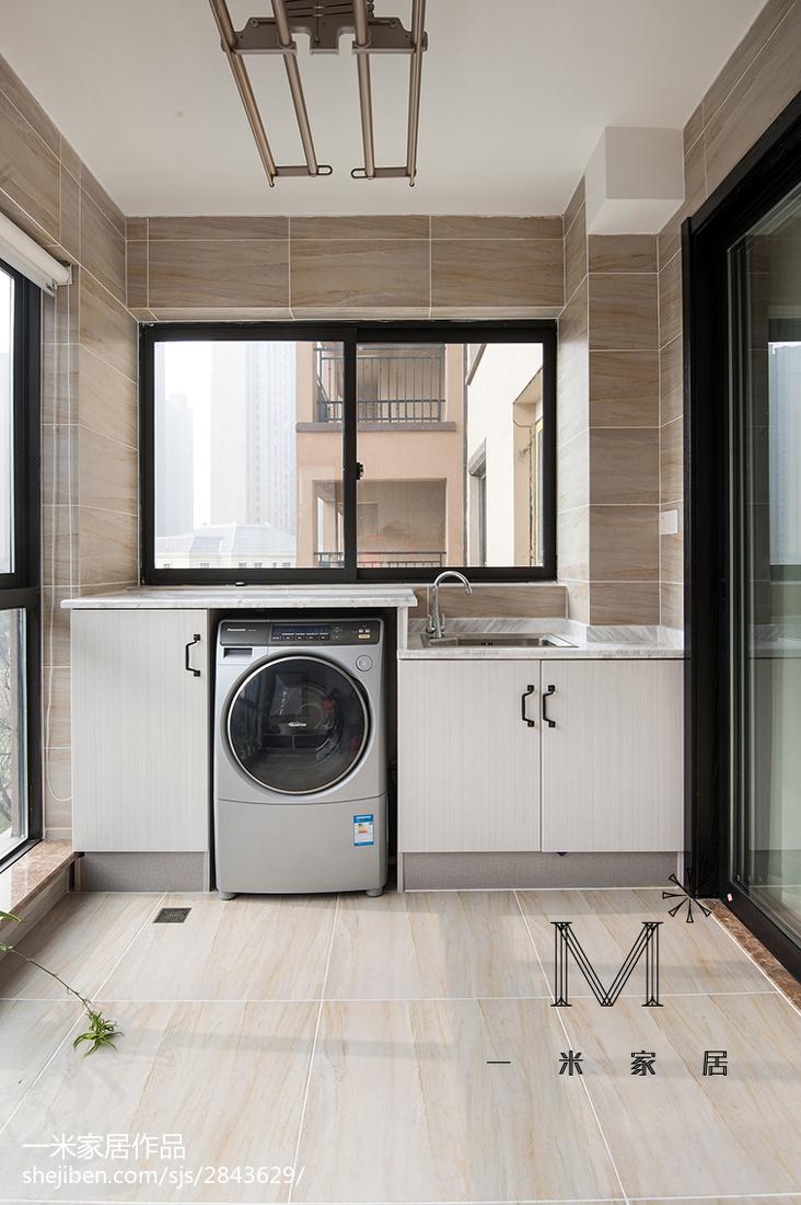 现代风格吊灯模型_新中式阳台洗衣机摆放效果图 – 设计本装修效果图