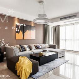 138m²现代简约客厅落地窗装修设计