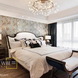 美式卧室碎花壁纸装修效果图