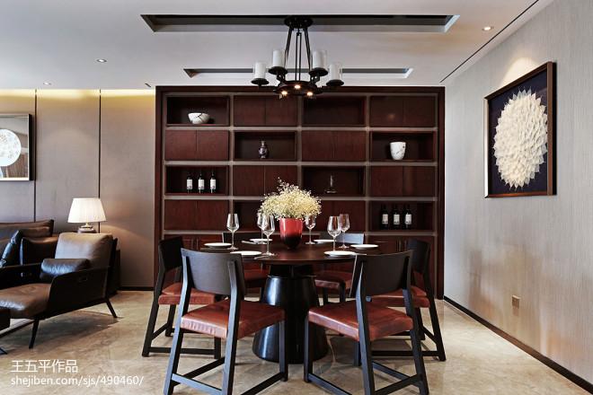 現代中式住宅餐廳酒柜裝修效果圖