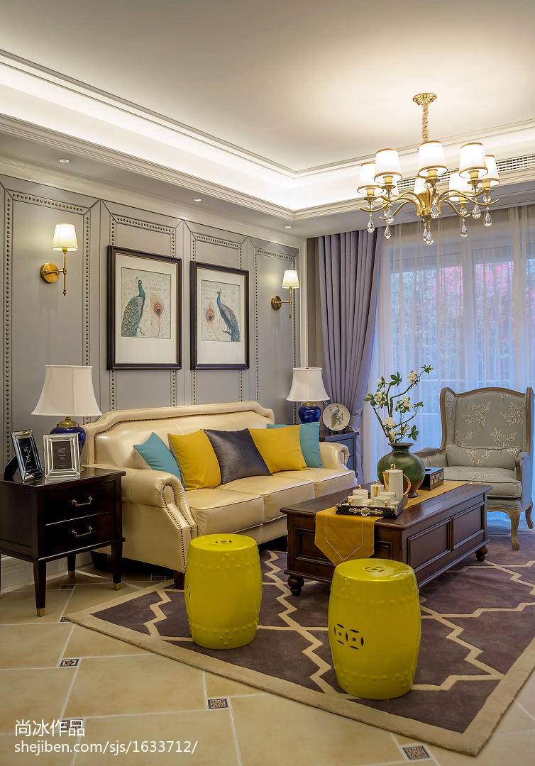 家装客厅电视背景墙_美式客厅背景墙图片 – 设计本装修效果图