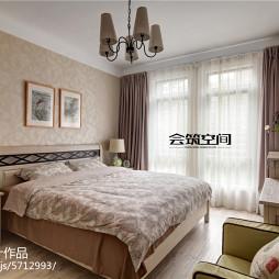 简美风格卧室窗帘装修图片