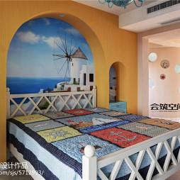 地中海复式卧室背景墙图片
