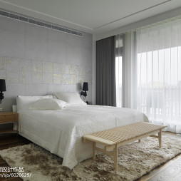 简约现代卧室窗帘装修图片