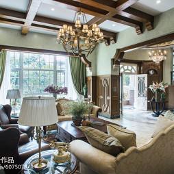 美式风格客厅吊顶别墅装修图片
