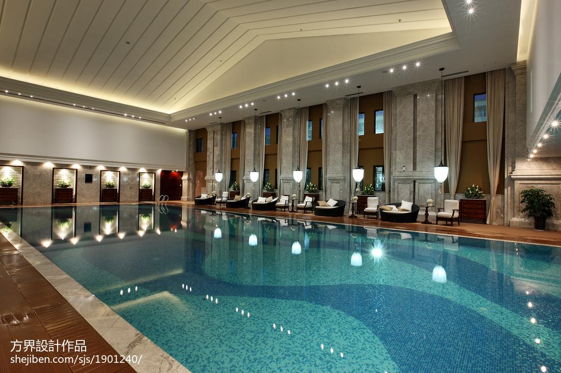 美式会所一楼恒温泳池效果图
