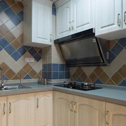 美式风格厨房瓷砖拼花效果图