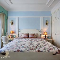 美式简洁卧室背景墙装修效果图