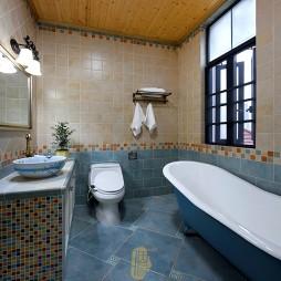 美式风格卫生间瓷砖拼花装修图片