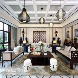 中式别墅客厅吊顶装修图片