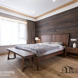 原木色混搭卧室背景墙装修设计