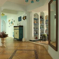 地中海风格过道地板瓷砖铺贴效果图