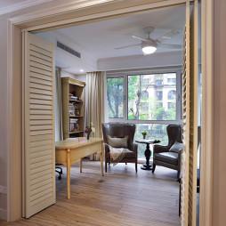 190㎡美式混搭书房折叠门装修图片
