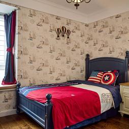 现代美式卧室壁纸装修效果图