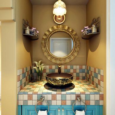 美式田园样板房2017新款浴室柜图片