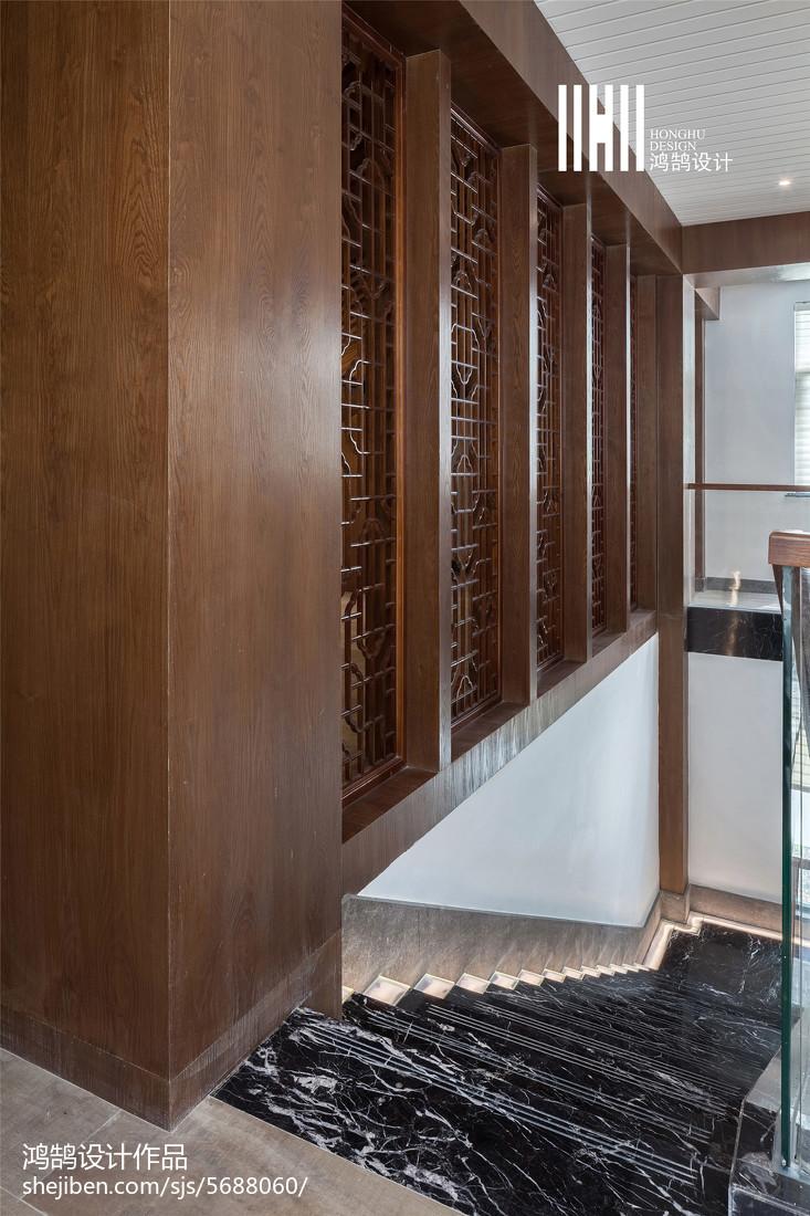 生活资讯_300㎡新中式高级会所楼梯效果图 – 设计本装修效果图