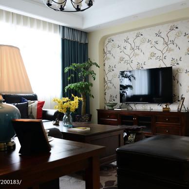 家装美式风格电视背景墙效果图