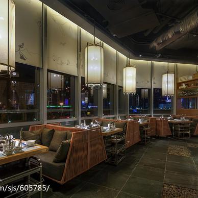公装典雅餐厅卡座区设计