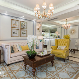 美式平层样板房客厅设计