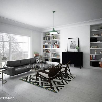 有点复古的北欧风家装客厅效果图_2423848