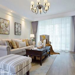 美式风格暖黄色客厅设计
