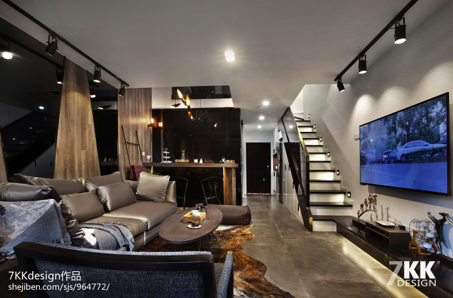 酒店式公寓炫酷黑白灰设计---同进理