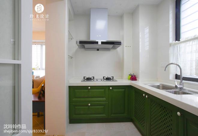 美式绿色橱柜效果图