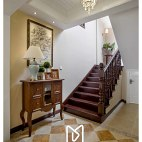 美式别墅楼梯装修案例