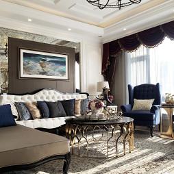 简欧风格跃层样板间客厅设计