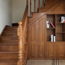 美式木质楼梯设计