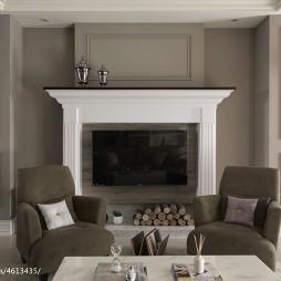 新古典风格三居室壁炉设计