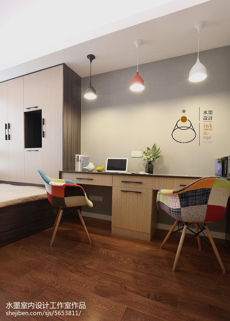 家居壁纸效果图_现代北欧风格书房装修 – 设计本装修效果图