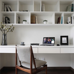 简约风格白色书房设计