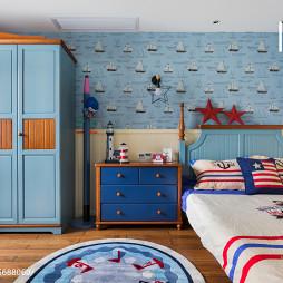 海蓝色美式儿童房布置