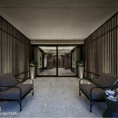 深灰色混搭风格休闲区设计
